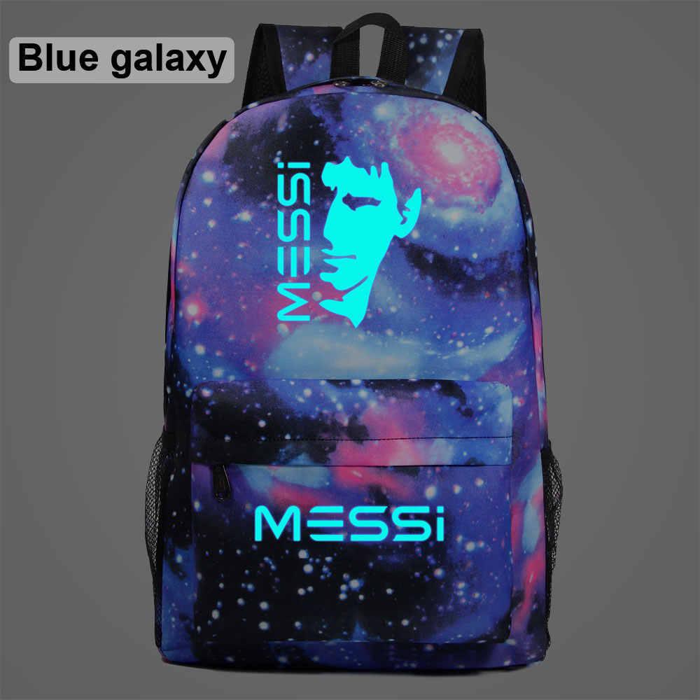 AL3204 Leuchtenden Fußball Sterne Messi 10 Anzahl Junge Mädchen Schule tasche Jugendliche Schulranzen Student Frauen Packsack Männer Rucksack