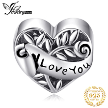JewelryPalace Heart Leaf 925 Sterling Silver Beads Charms Original For Bracelet original Jewelry Making