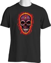 Flaming Sugar Skull T Shirt Zombie Tribal Tattoos Sml - 6XL men cotton t-shirts summer brand tshirt euro size 4XL 5XL