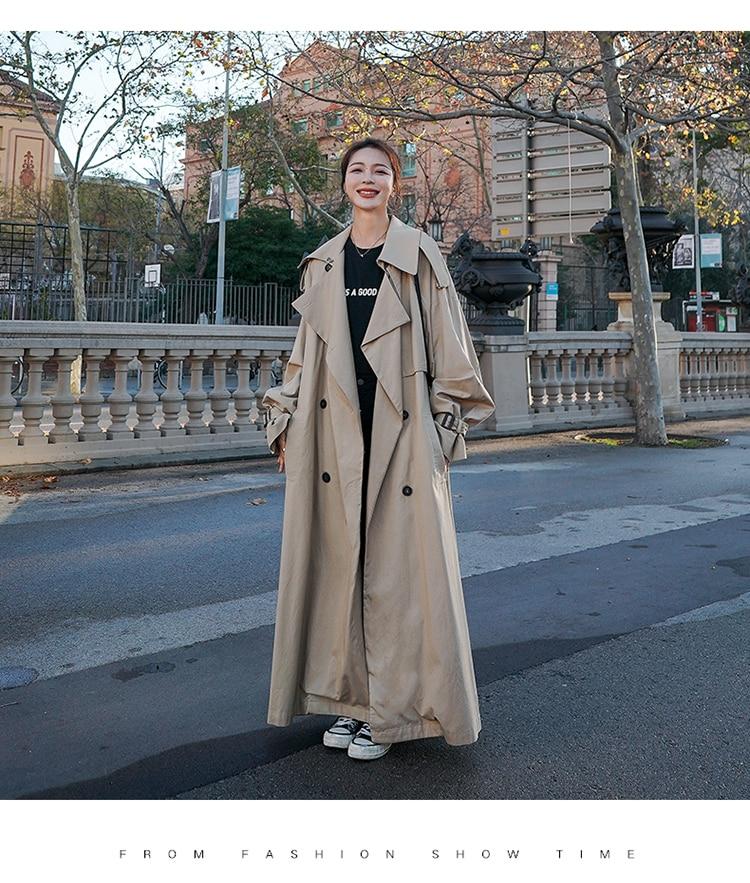 H213ec8486fbf4d0ebb8d3fbf38c07048N Korean Style Loose Oversized X-Long Women's Trench Coat Double-Breasted Belted Lady Cloak Windbreaker Spring Fall Outerwear Grey