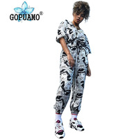 Sexy Two Piece Cartoon Character Print Tracksuit for Women Round Neck Half Sleeve T Shirt + Causal Harem Pants Set Plus Size Set