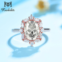 Rose-Gold-Ring 585 Marquise Luxury-Ring Engagement 2ct Moissanite Kuololit White Yellow