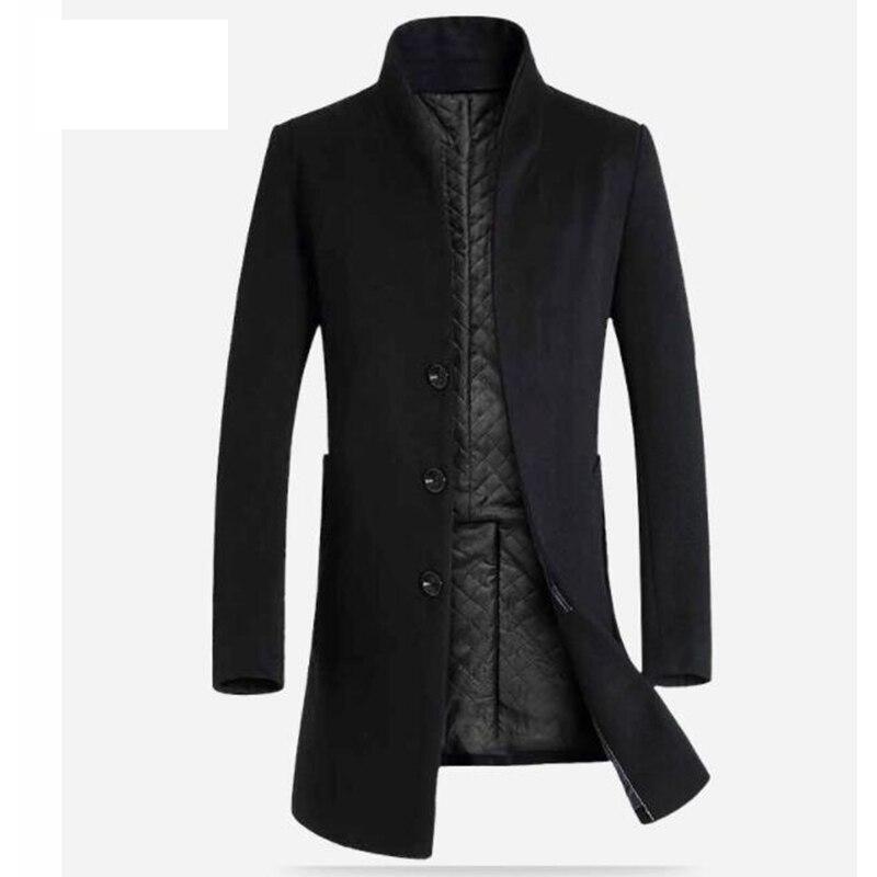 2019 winter men's long section Slim coat coat wool coat windbreaker jacket