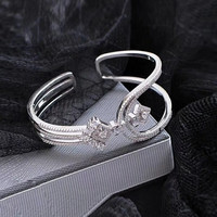 Designer Fashion 925 Sterling Silver Jewelry 3A Cubic Zirconia Party Bangle