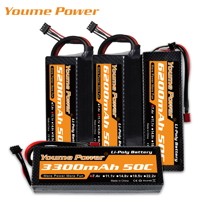 YOUME 3S 11.1V 4S 14.8V <font><b>Lipo</b></font> <font><b>2S</b></font> 7.4V Battery 3300mAh <font><b>5200mAh</b></font> 6200mAh 50C T DEAN Hard Case for Traxxas RC 1:10 Slash Car Emaxx image