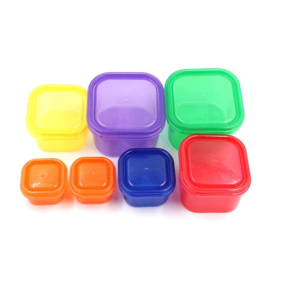 7 pçs/set Multi-Cor 21 Dias Controle Da Parcela Kit Recipiente BPA Livre Caixa de Plástico do Alimento Saudável Dieta Calórica Controle de Caixa de Almoço