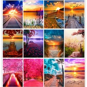 5D Diamond Painting Sunset/Love Beach DIY Round Full Diamond Embroidery Kit Landscape Home Decoration Crafts 30*40cm