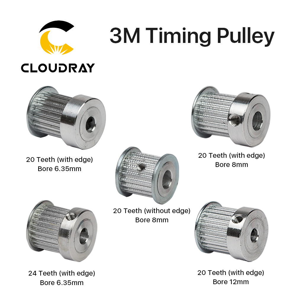 3M Timing Pulley 20/24 Tooth Wheel Bore 6.35/8/12mm Gear Teeth 3D Printers Parts For CO2 Laser Engraving Cutting Machine