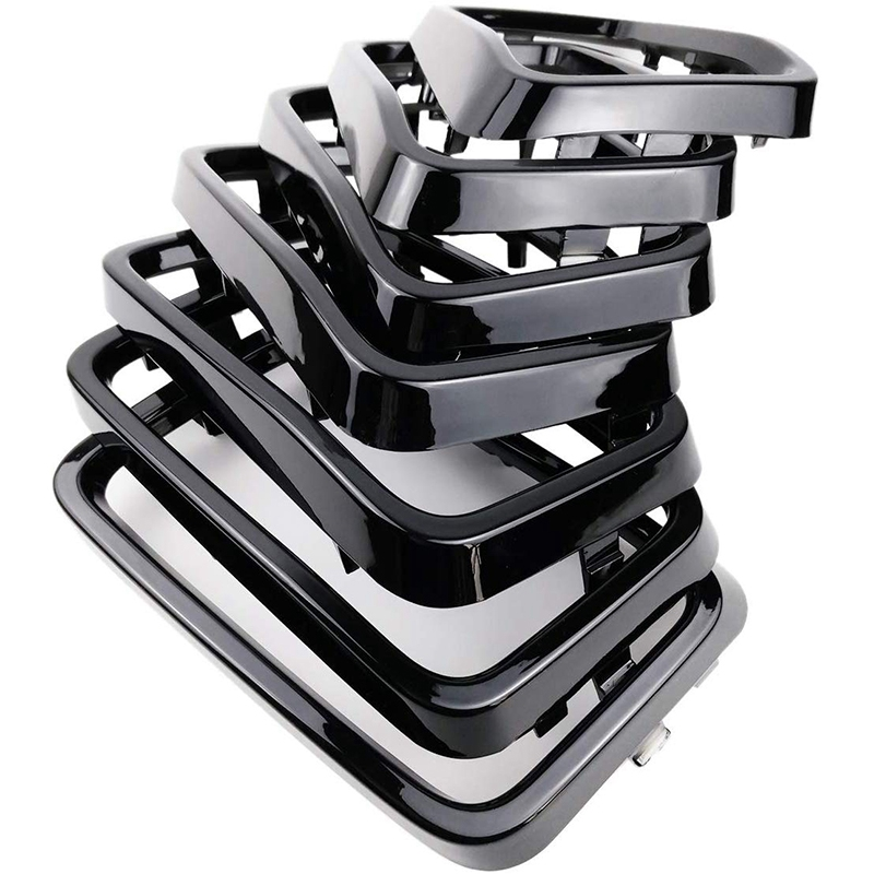 7PC Gloss Black Grill Rings Grille Grill Inserts Fit for 2017 2018 <font><b>2019</b></font> Je-ep <font><b>Grand</b></font> <font><b>Cherokee</b></font> image