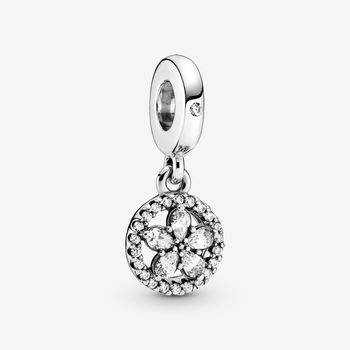 Sparkling Snowflake Circle Dangle Charm Charms Metals Type: Silver