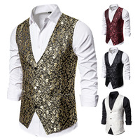 WENYUJH 2019 Autumn New Arrival Men's Print Vest Men Brand Night Club Prom Suit Vest Men Waistcoat Wedding Formal Vests for Men
