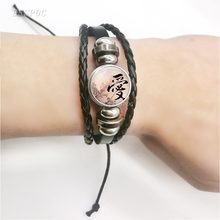Fashion Resin Jewelry Love Kanji Pendant Japanese Black Leather Bracelet Glass Cabochon Valentine Gift Bangle