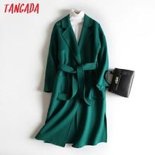 Tangada Donna Elegante Verde 100% di Lana Lunghi Cappotti Con Slash maniche Lunghe 2020 Autunno Inverno Femminile Cappotto di alta qualità 4R2