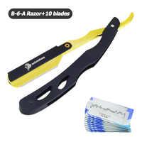 Univinlions Shaving Barber Tools Hair Razor and Blades Antique Black Folding Shaving Knife Stainless Steel Straight razor Holder