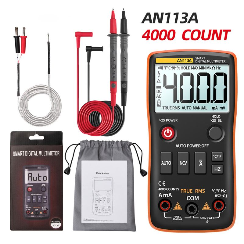 AN113A Digital Multimeter True RMS With Temperature Tester 4000 Counts Auto-Ranging AC/DC Transistor Voltage Meter