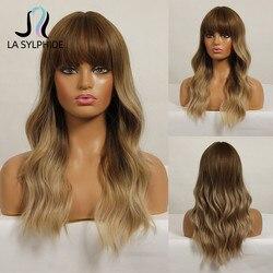Синтетический парик La silphide с длинными волнистыми корнями, темно-коричневые парики с эффектом омбре, блонд, с челкой, для женщин белого и черн...
