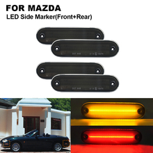 цена на 4PCS Smoked LED Front Side Marker Light Lamp For MAZDA Miata MX-5 1990-2005 2X Front Side marker(Amber)+2X Rear Side marker(Red)