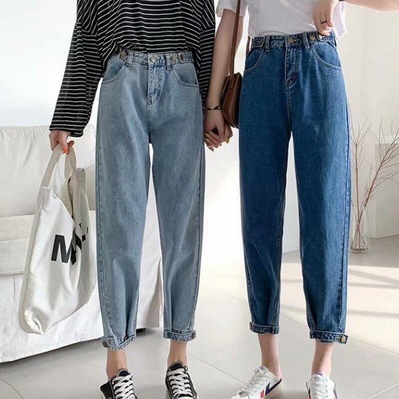 S-5XL Autumn Woman's Jeans Casual Jeans Woman Adjustable High Waist Jeans Women's Jeans Large Sizes Boyfriend Jeans For Women