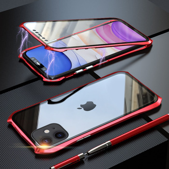 360 Full Protective Case For iphone 11 case Metal Magnetic Adsorption For iphone 11 pro max 2019 New Cases Cover Bumper Coque - For iPhone 11 Pro, red 360