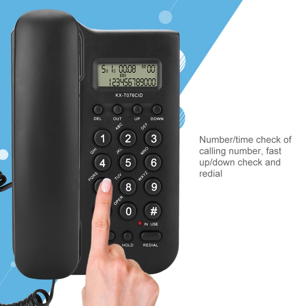 Wired Desktop Wall Phone Call ID Landline Telephone Wholesale Home Office Hotel Without Battery Bring Power Display Fixed Phone