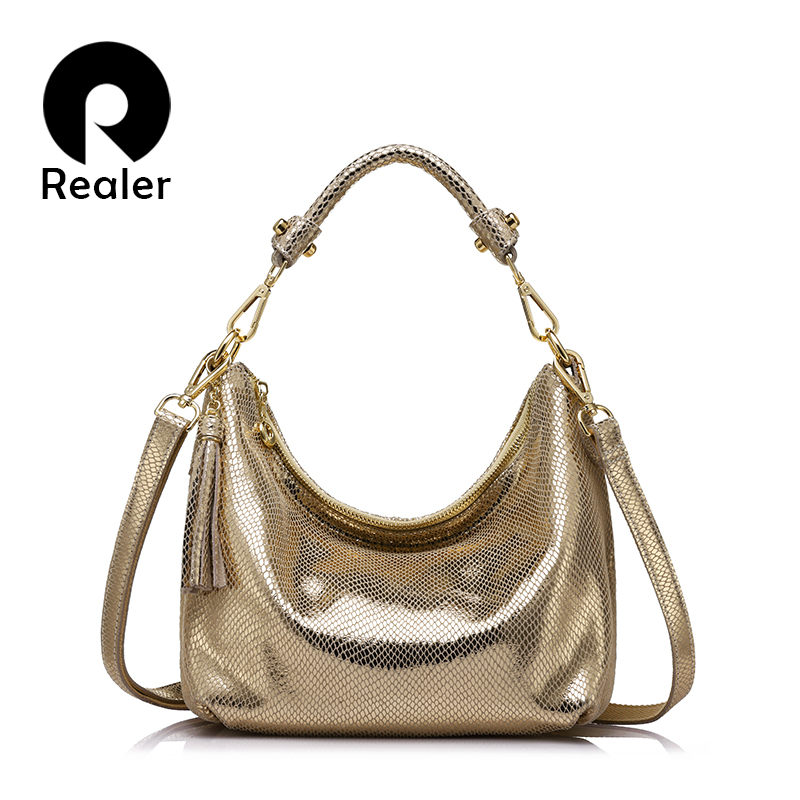 Realer Hobos Women Genuine Leather Brand Bags Female Serpentine Pattern Shoulder Bag High Quality Ladies Handbag With Tassel