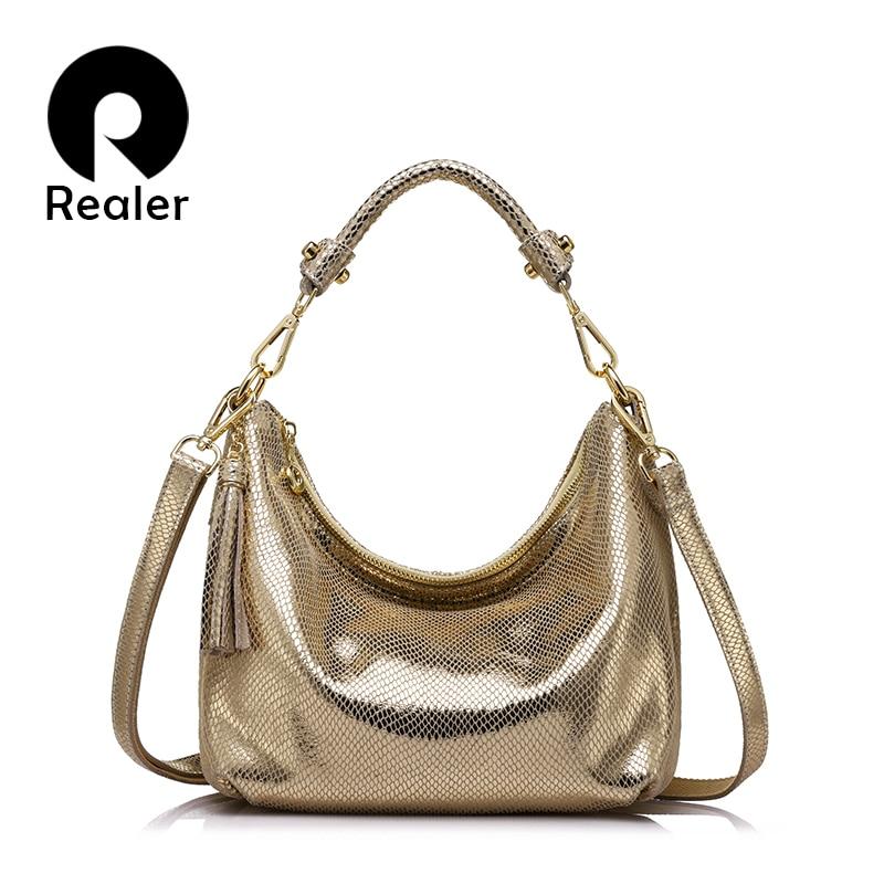 Realer Hobos Women Genuine Leather Brand Bags Female Serpentine Pattern Shoulder Bag High Quality Ladies Handbag With Tassel