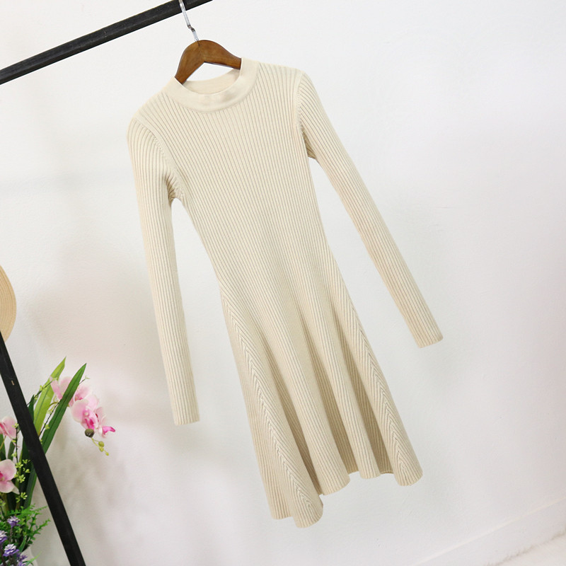 H214005613e5844a6a01af1426685c042e - Women Long Sleeve Sweater Dress Women's Irregular Hem Casual Autumn Winter Dress Women O-neck A Line Short Mini Knitted Dresses