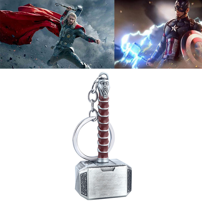 Movie Avengers Endgame Thor Hammer Keychain Cosplay Prop Accessories Thor Hammer Pendant Mjolnir Key Ring