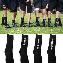 Mens Funny Novelty Black Wedding Party Crew Socks Groom Best Man Groomsman Father Letters Print Cotton Mid Tube Hosiery Gifts
