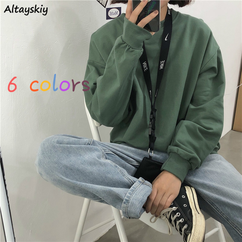 Hoodies Women Solid Basic Sweatshirt All-match Simple Soft High Quality O-Neck Pullover Friends Chic Candy Color Korean Style