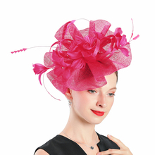 Wedding Hats for Women Elegant Red Fascinators Hat Flower With Feather Fedoras Headband Cocktail Tea Party Dance Banquet Cap