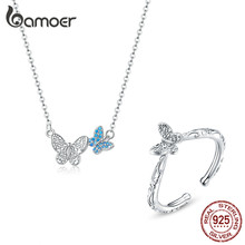 bamoer 925 Sterling Silver Jewelry Sets Butterfly Necklace and Finger Rings for Women Korean Style Fashion Jewelry ZHS184(China)