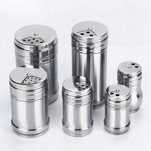 Multifuntional High Quality Kitchen Stainless Steel Seasoning Jar Pepper Spice Salt Shaker Rotating Cover 3pcs high quality multifunctional kitchen daily necessities seasoning mixing pot tableware stainless steel bowls