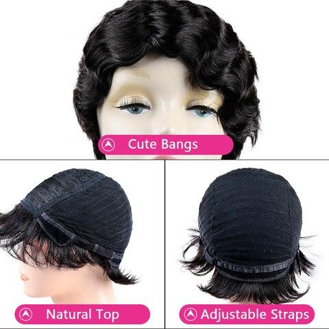 Bling Hair Short Human Hair Wigs Brazilian Pixie Cut Bob Finger Wave Wigs Non Remy For Black Women Natural Color 130% Density Lahore