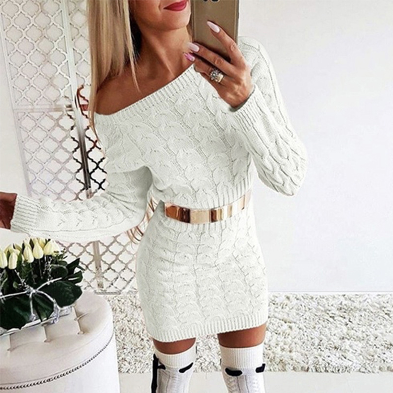 New 2019 Autumn Winter Elegant Knitted Sweater Dress Women Black White Sweater Dress Sexy Solid Ladies Winter Sweater Dress