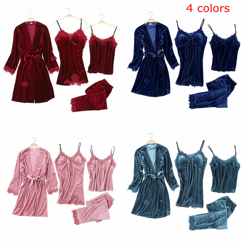 H21404902424e449a8ca83fd292743091x - JULY'S SONG Gold Velvet 4 Pieces Warm Winter Pajamas Sets Women Sexy Lace Robe Pajamas Sleepwear Kit Sleeveless Nightwear