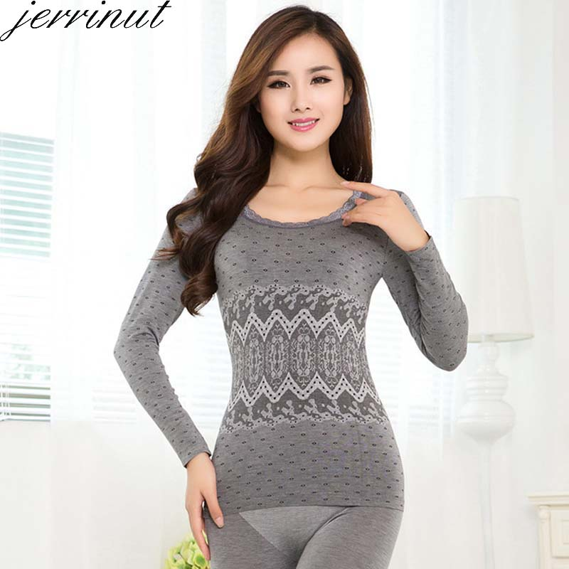 Jerrinut Winter Long Johns For Women's Thermal Underwear Warm Thermo Lingerie Pijamas Breathable Intimates Tops+Pants Sexy