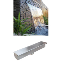 Stainless steel waterfall water outlet stream sink,pool waterfall fountain,water curtain wall courtyard fish pond landscape