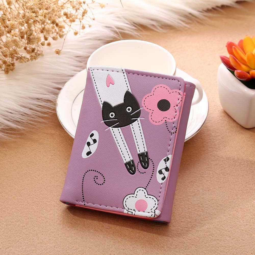 Cartera corta Bonita a la moda para mujer, con diseño de gato y flores, monedero con broche, cartera corta, tarjetero, bolso de mano 815