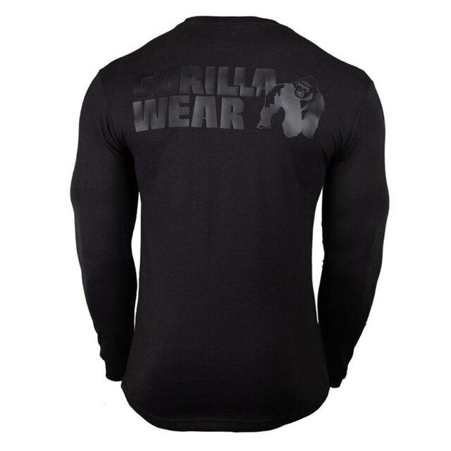 Décontracté à manches Longues En Coton T shirt Hommes Gym Fitness Musculation Entraînement Maigre T shirt Homme T shirt à Imprimé Hauts Marque Sportive Vêtements