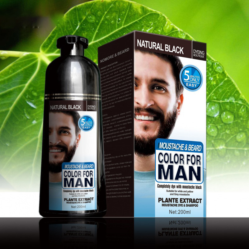 100% Natural Long Lasting 200ml Permanent Beard Dye Shampoo For Men Beard Care Dying Removal White Grey Beard Hair Men Beard