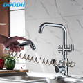 Kitchen Faucet Pull out Side Spray Dual Spout Single Handle Mixer Tap Sink Faucet 360 Rotation Kitchen Faucets Torneira DOODII