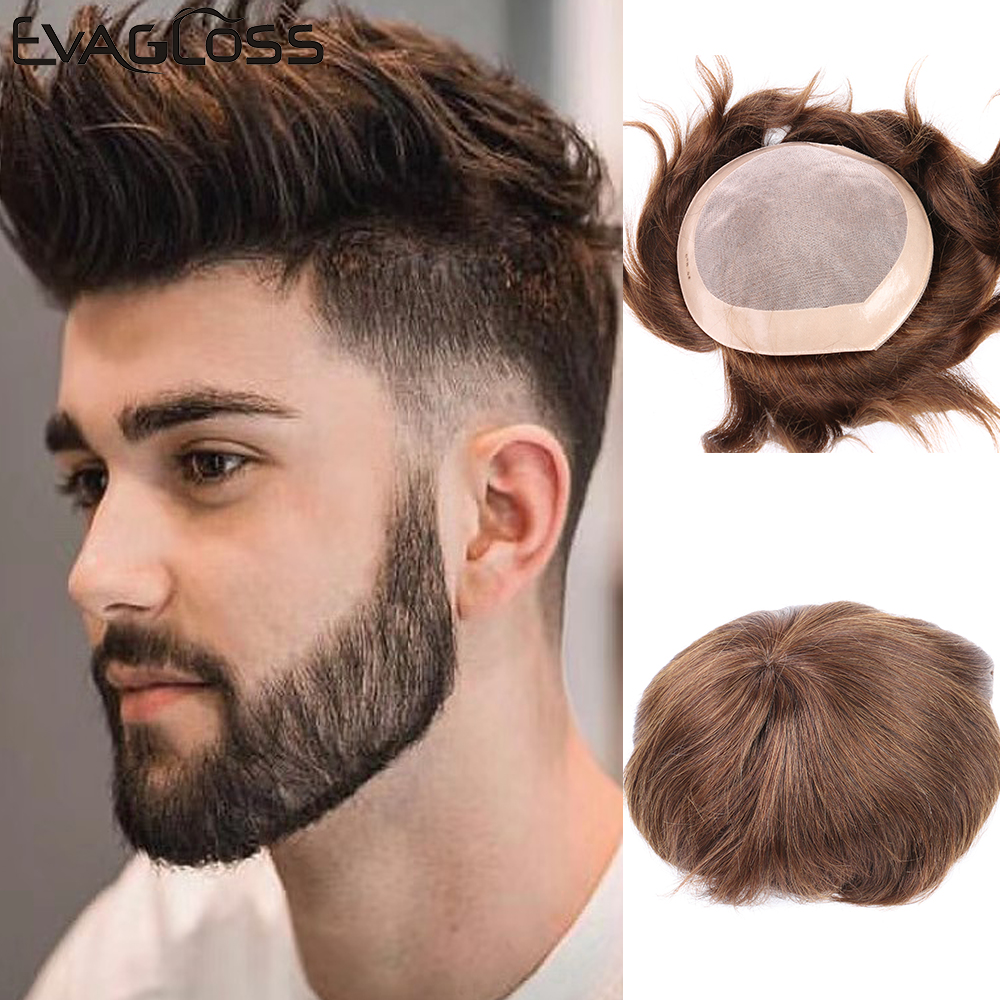 EVAGLOSS Hair Replacement Systems For Mens Wig Mono Lace NPU Indian Remy Hair Toupee Mens Hair Prosthetic Men Hair Wig