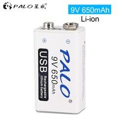 9V 6F22 650 M AH Baterai Isi Ulang Li-ion Micro USB Baterai 9V Lithium untuk Multimeter Mikrofon Mainan Remote Control KTV Menggunakan
