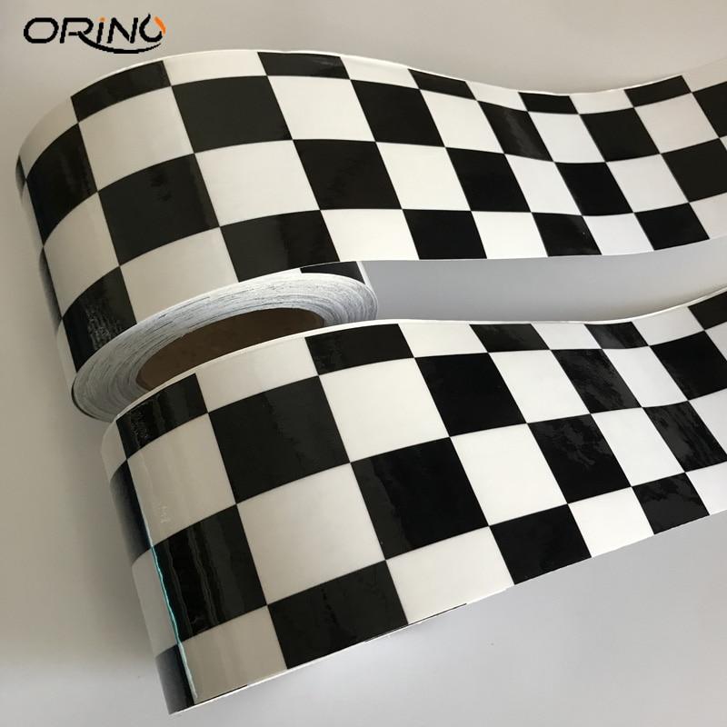10cmx500cm Gloss Black White Checkered Racing Flag Vinyl Film Car Wrap Foil Air Release Adhesive Car Motorbike Scooter Sticker
