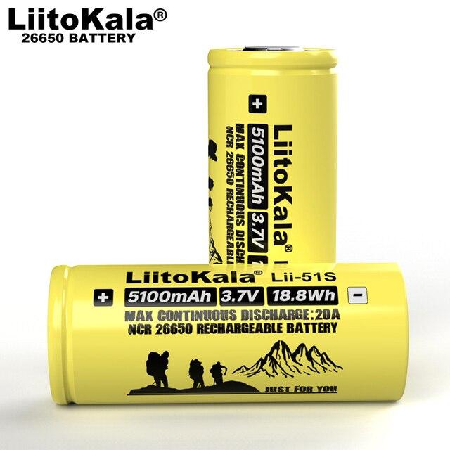 2020 Liitokala Lii 51S 26650 güç 20A şarj edilebilir lityum pil 3.7V 18.8Wh 5100mA için uygun el feneri