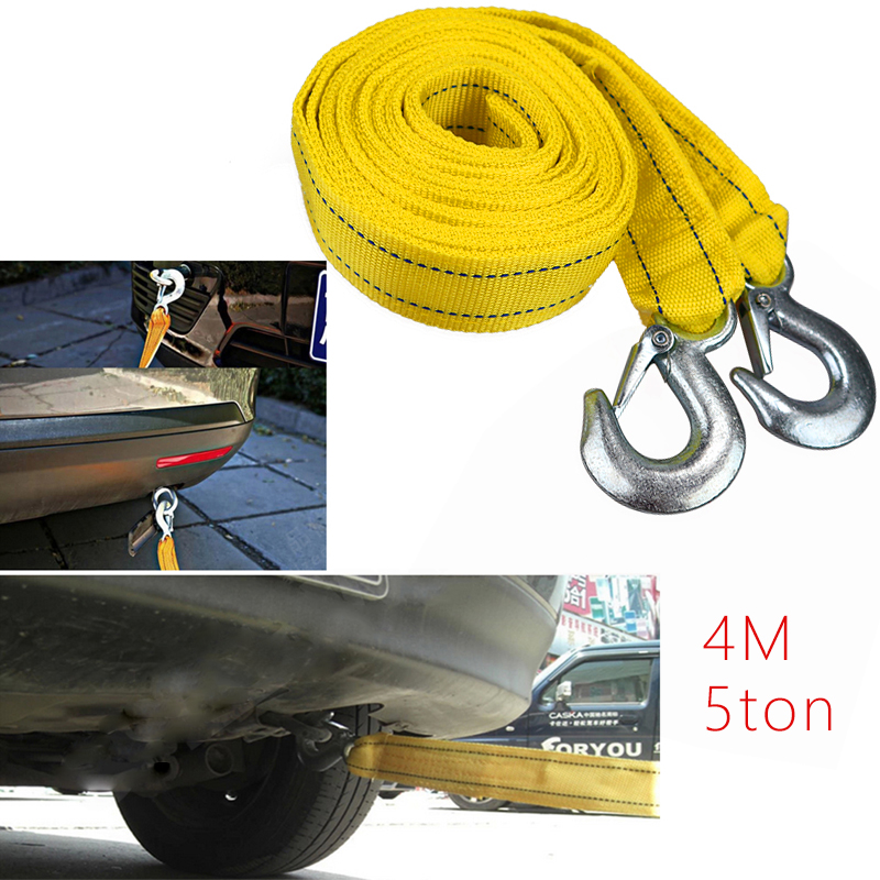4M Tow Strap Tow Cable Towing Pull Rope Strap Hooks Van Road Car Rescue Tool For Audi Ford For Heavy Duty 5 Ton Car Accessories