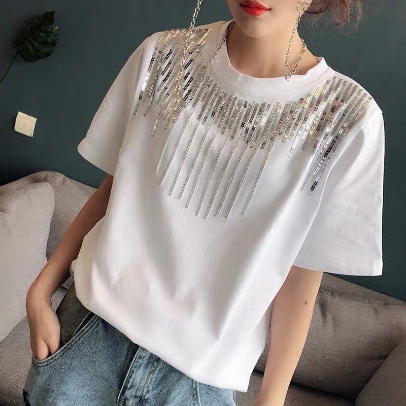 2021 summer new slim short sleeve T-shirt women loose handmade beads Joker solid color jacket