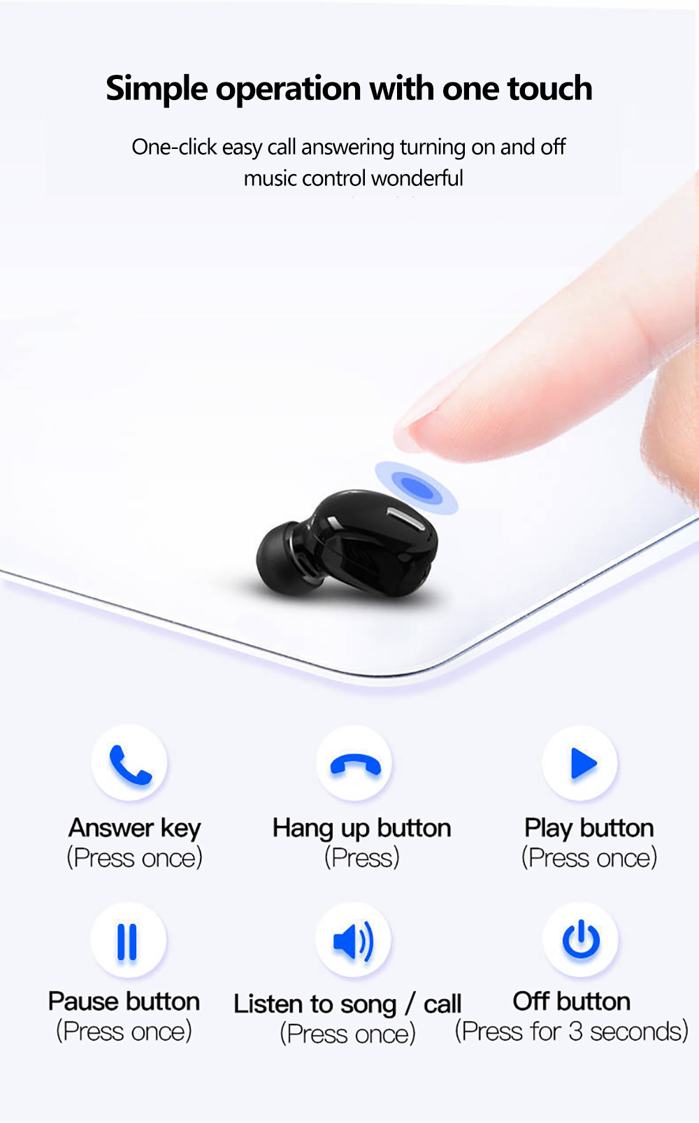H214103c2bd3c4faba1f359e0998a58f55 - Mini In-Ear 5.0 Bluetooth Earphone HiFi Wireless Headset With Mic Sports Earbuds Handsfree Stereo Sound Earphones for all phones