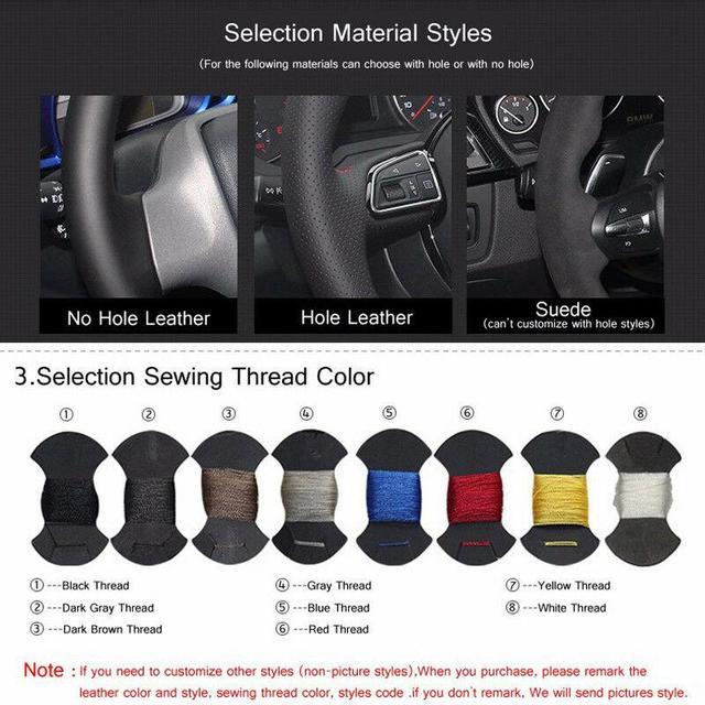 Фото кожаный чехол на руль сшитый вручную черного и синего цвета